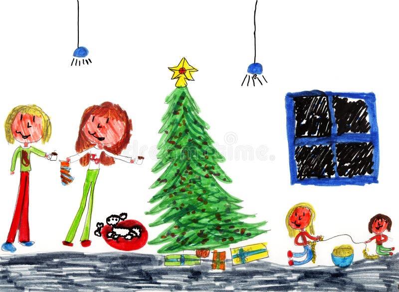 bożego narodzenia wesoło rodzinny szczęśliwy ilustracja wektor