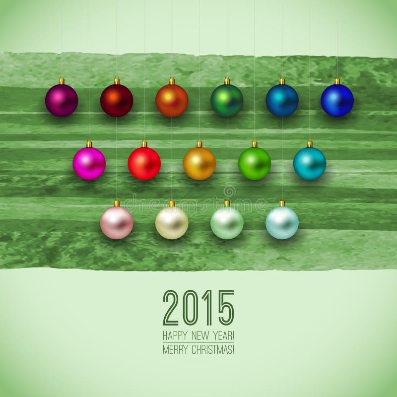 2015 Bożego Narodzenia zielony wesoło tło Boże Narodzenia ilustracja wektor