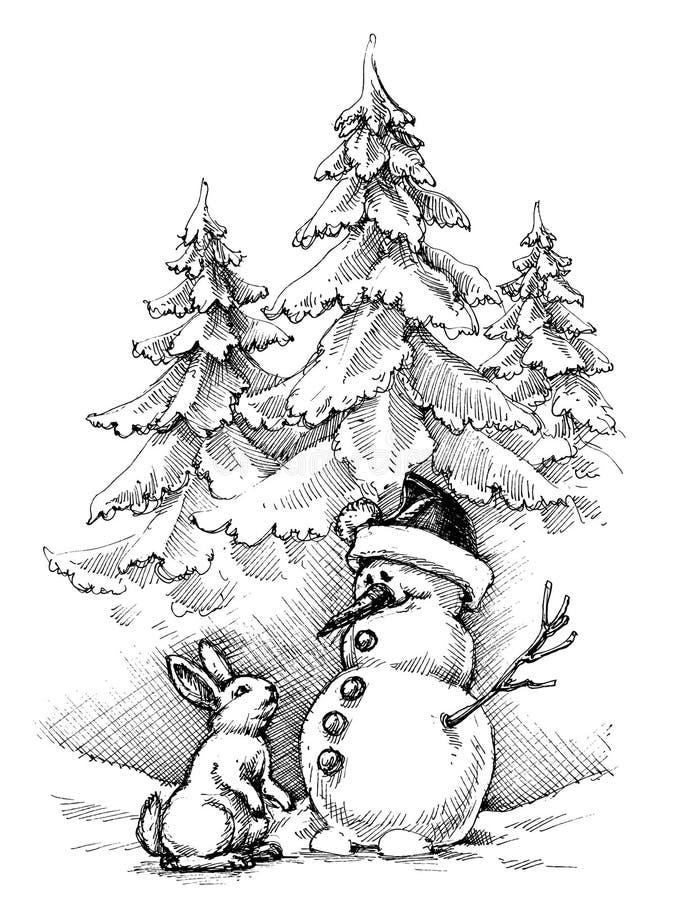Bożenarodzeniowa śmieszna scena, zima sezon ilustracji