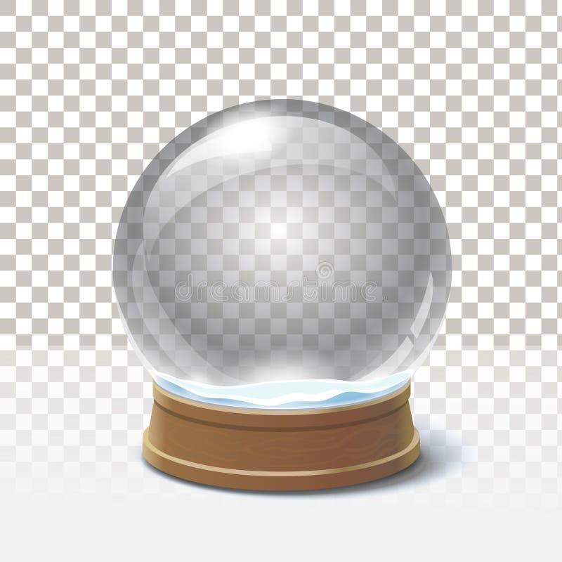 Bożenarodzeniowa śnieżna kula ziemska na w kratkę tle Magiczna piłka ilustracja wektor