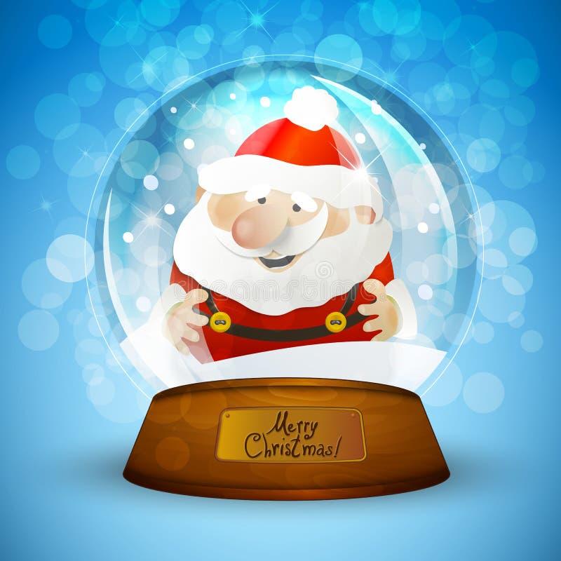 Bożenarodzeniowa śnieżna kula ziemska z Święty Mikołaj ilustracji