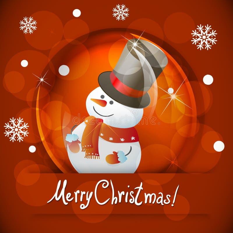 Bożenarodzeniowa śnieżna kula ziemska z bałwanem royalty ilustracja