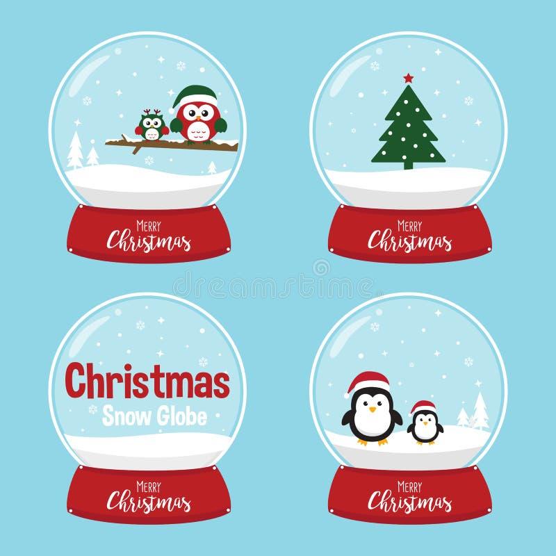 Bożenarodzeniowa Śnieżna kula ziemska z choinką Śliczne sowy i pingwiny ilustracji