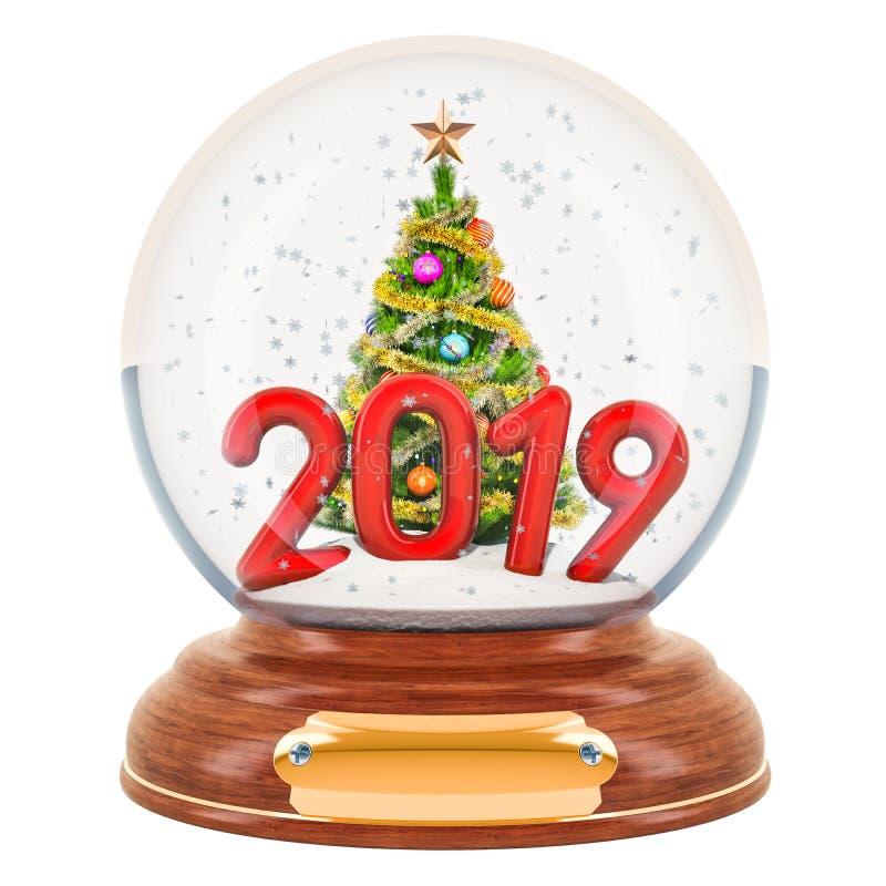 Bożenarodzeniowa śnieżna kula ziemska 2019 z choinką wśrodku, 3D renderi ilustracji