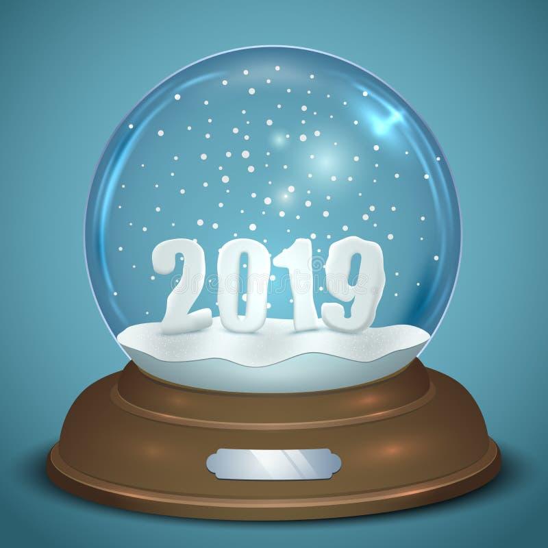 Bożenarodzeniowa Śnieżna kula ziemska z 2019 nowy rok postaciami ilustracji