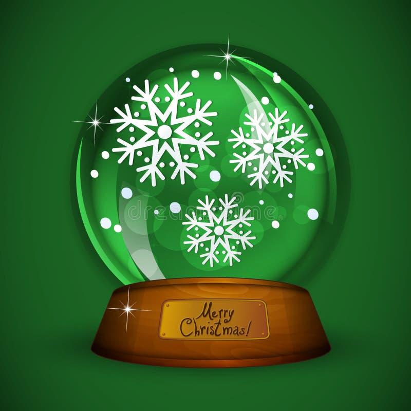Bożenarodzeniowa Śnieżna kula ziemska z płatkiem śniegu royalty ilustracja