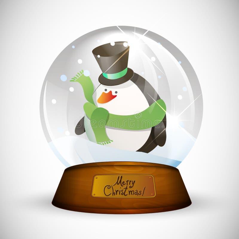Bożenarodzeniowa śnieżna kula ziemska z pingwinem ilustracji
