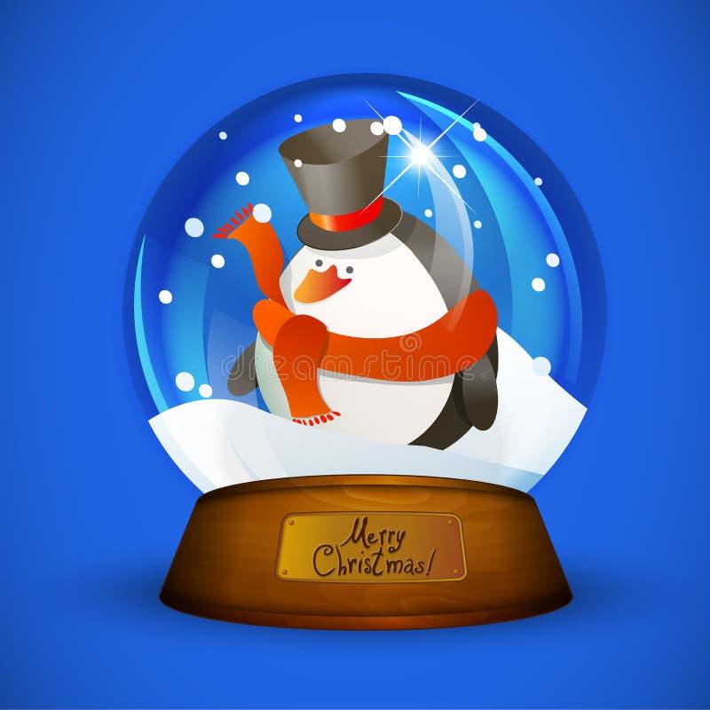 Bożenarodzeniowa śnieżna kula ziemska z pingwinem ilustracja wektor