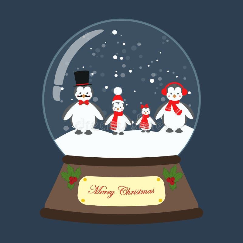 Bożenarodzeniowa śnieżna kula ziemska z pingwinu wektoru ilustracją ilustracji