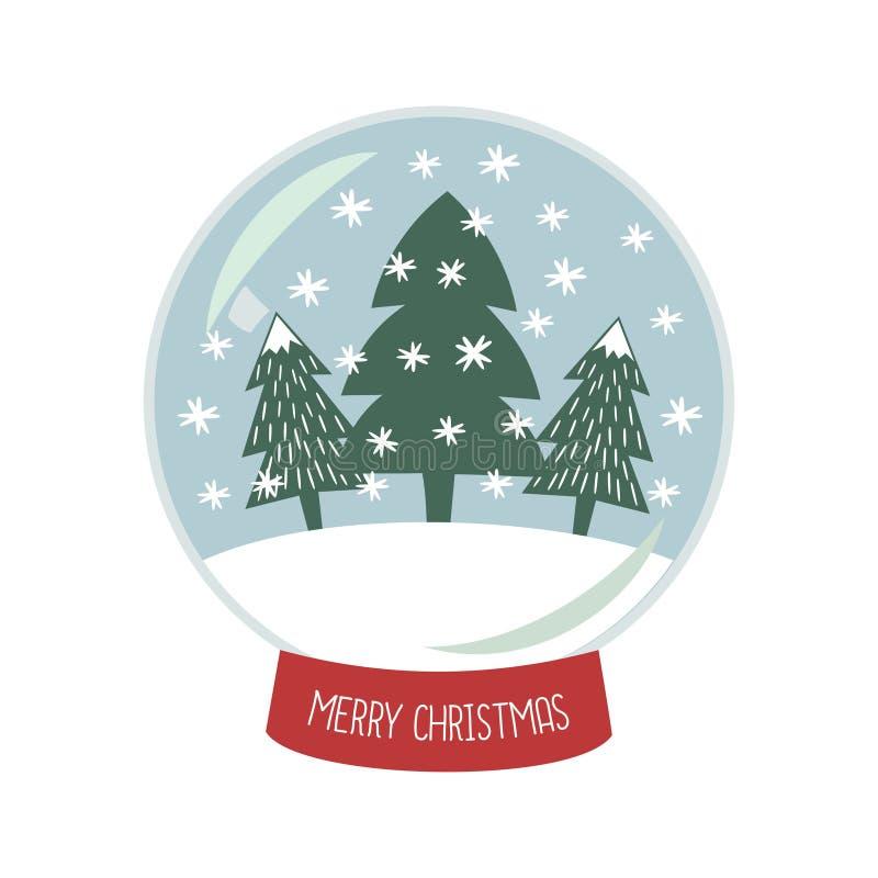 Bożenarodzeniowa Śnieżna kula ziemska z spada śniegiem i Xmas drzewami ilustracyjnymi ilustracja wektor