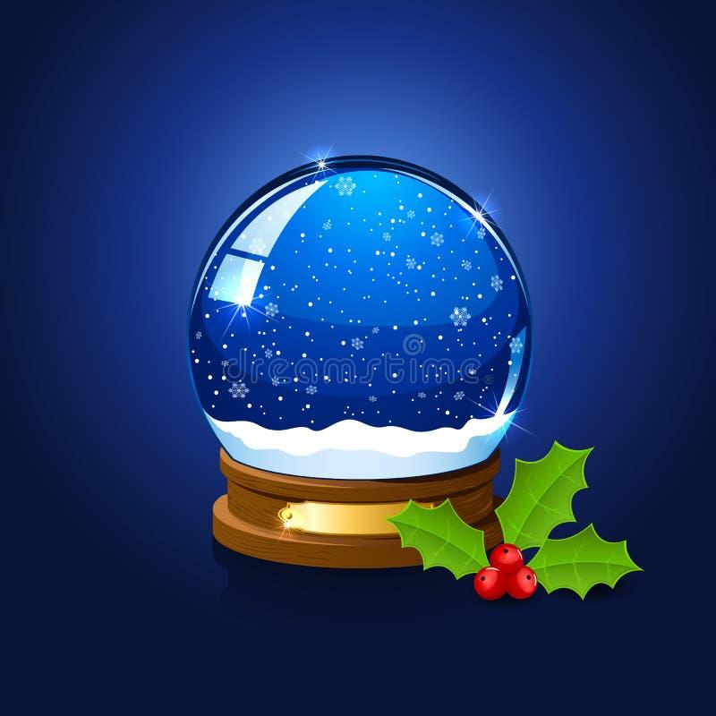 Bożenarodzeniowa śnieżna kuli ziemskiej i holly jagoda ilustracji