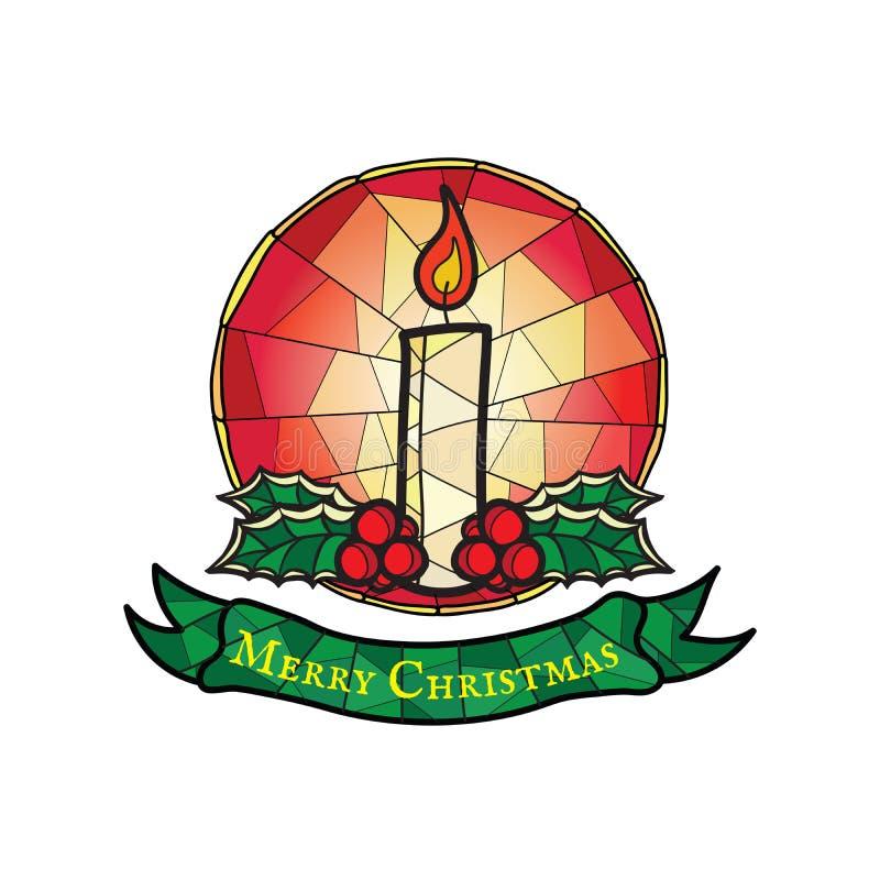 Bożenarodzeniowa świeczka z holly - witrażu Stylowy symbol ilustracja wektor