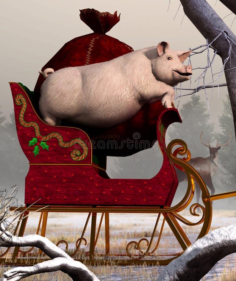 Bożenarodzeniowa świnia royalty ilustracja