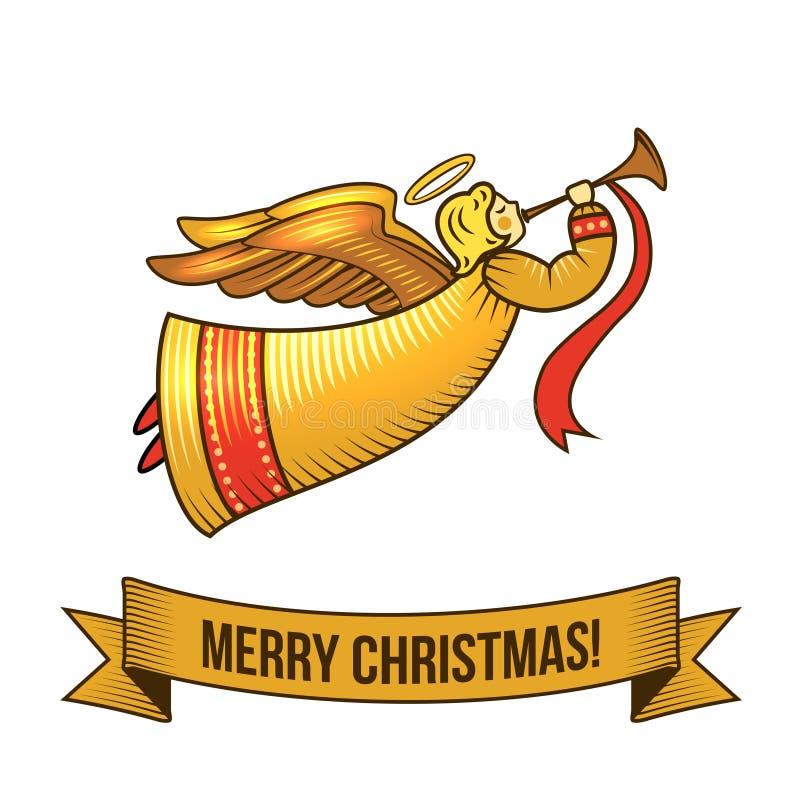 Bożenarodzeniowa anioł ikona ilustracja wektor