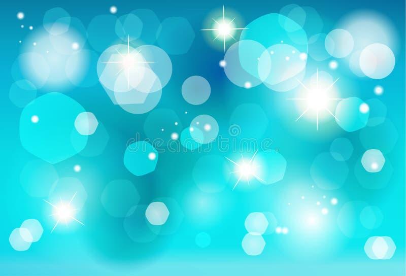 Bożenarodzeniowa błękitna bokeh świateł skutka tapeta royalty ilustracja
