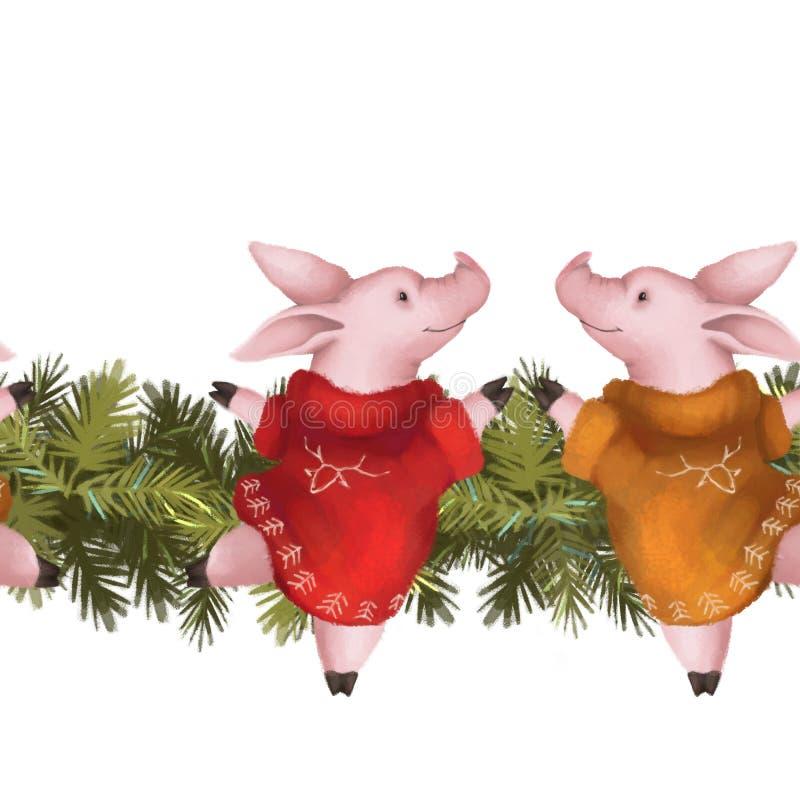 Bożenarodzeniowa Bezszwowa girlanda Świnie w czerwonym pulowerze na świerczynie graniczą Odizolowywający na bielu nowy rok, royalty ilustracja