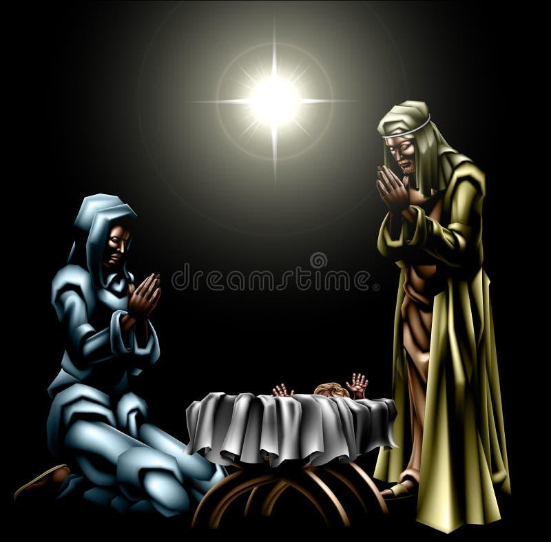 Bożenarodzeniowa Chrześcijańska narodzenie jezusa scena royalty ilustracja