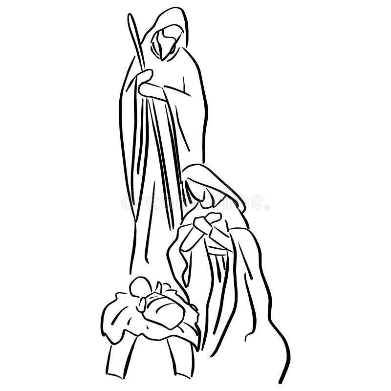 Bożenarodzeniowa Chrześcijańska narodzenie jezusa scena dziecko Jezus w żłobie z Mary i Joseph nakreślenia wektorowym ilustracyjn royalty ilustracja