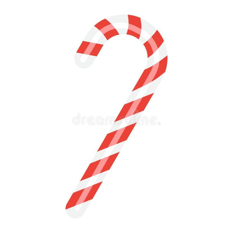 Bożenarodzeniowa cukierek trzciny płaska ikona, nowy rok ilustracja wektor