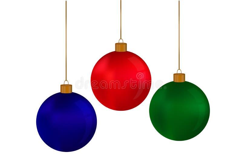 Bożenarodzeniowa czerwień, zieleń, błękitne piłki wiesza na nici na białym tle ilustracji