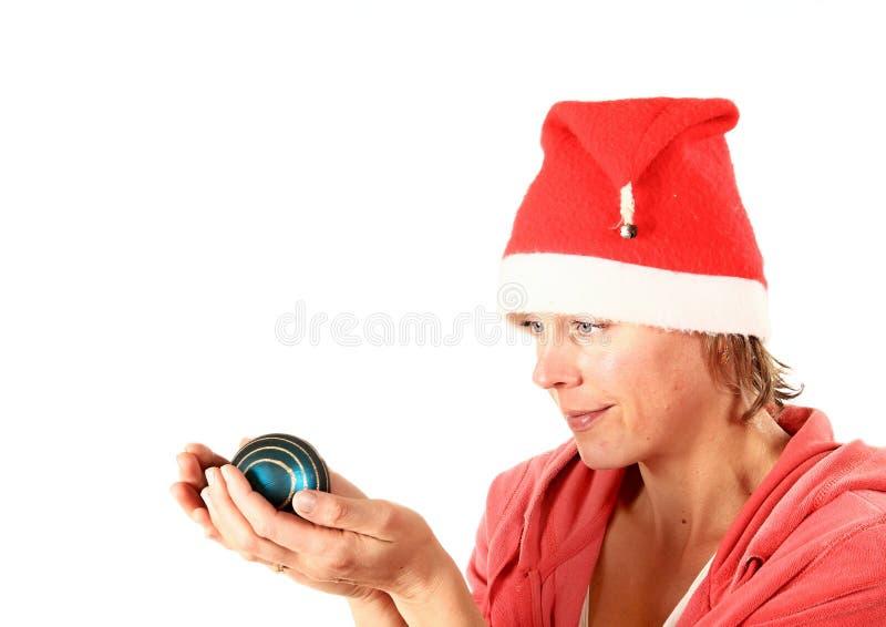 Bożenarodzeniowa dama w czerwonym i białym fotografia stock