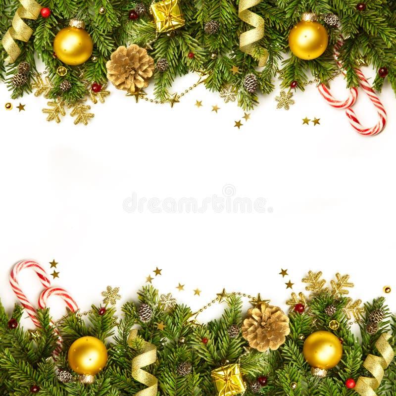 Bożenarodzeniowa dekoraci granica hor - tło odizolowywający na bielu - obraz stock