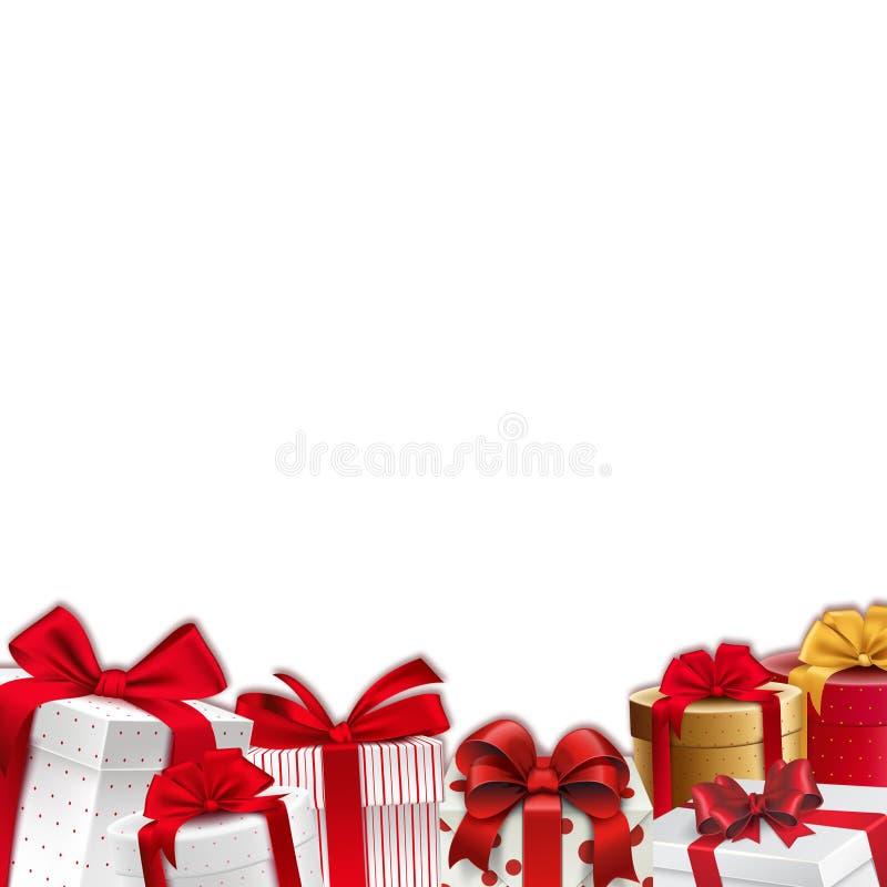 Bożenarodzeniowa dekoraci granica prezentów pudełka z czerwonymi faborkami - rama - royalty ilustracja