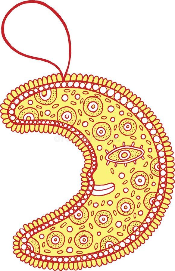 Bożenarodzeniowa dekoracja dla choinki - złota księżyc doodle ilustracji