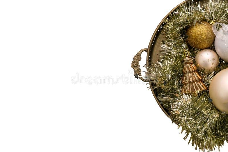 Bożenarodzeniowa dekoracja odizolowywająca na białym tle, złocisty projekt zdjęcie stock