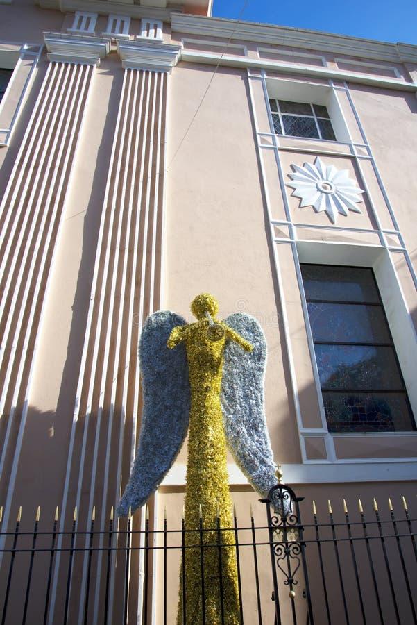 Bożenarodzeniowa dekoracja w głównej ulicie na skale Gibraltar zdjęcie royalty free