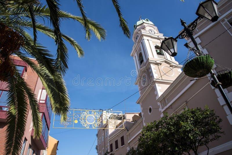 Bożenarodzeniowa dekoracja w głównej ulicie na skale Gibraltar fotografia royalty free