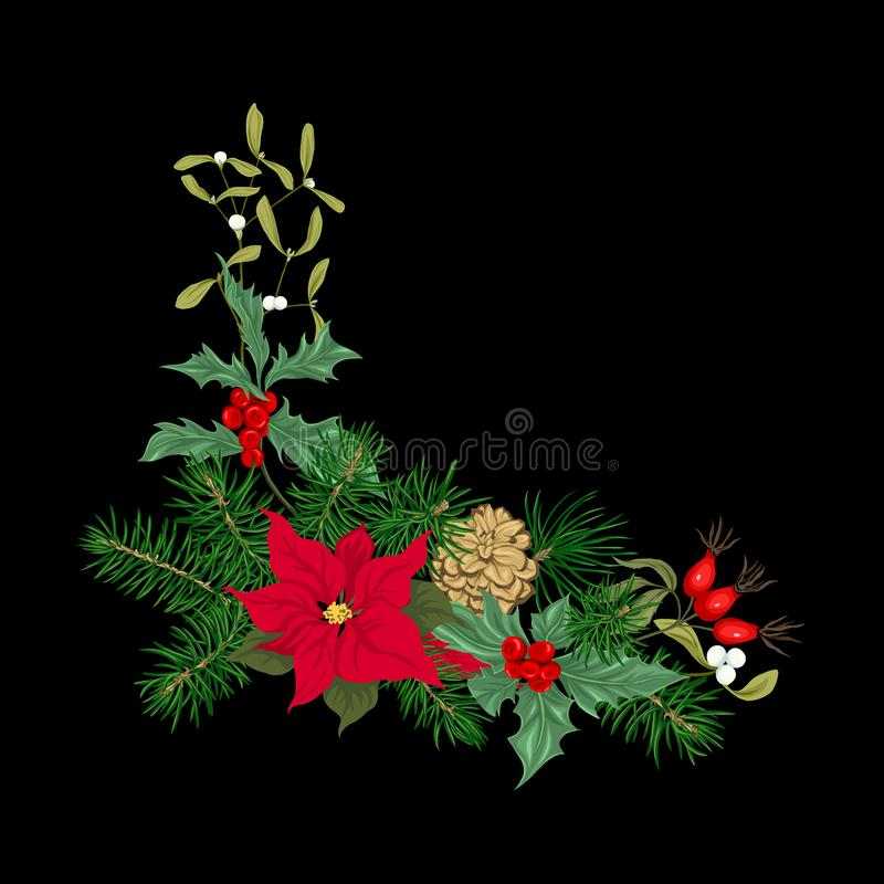Bożenarodzeniowa dekoracja, wianek robić jedlinowe gałąź ilustracja wektor