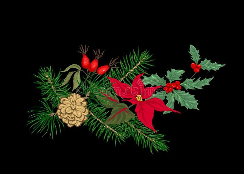 Bożenarodzeniowa dekoracja, wianek robić jedlinowe gałąź ilustracji