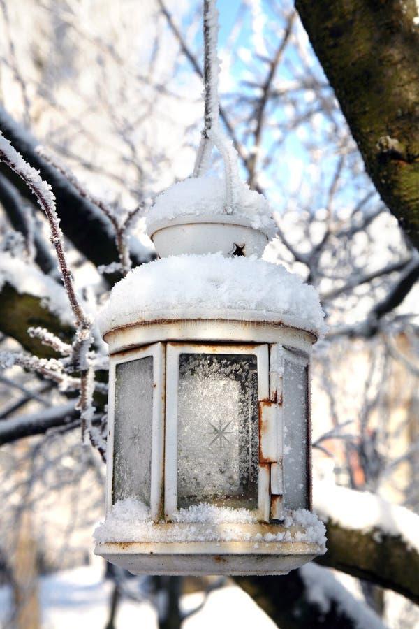 Bożenarodzeniowa dekoracja z lampionu, śniegu i jodły gałąź, zdjęcie royalty free