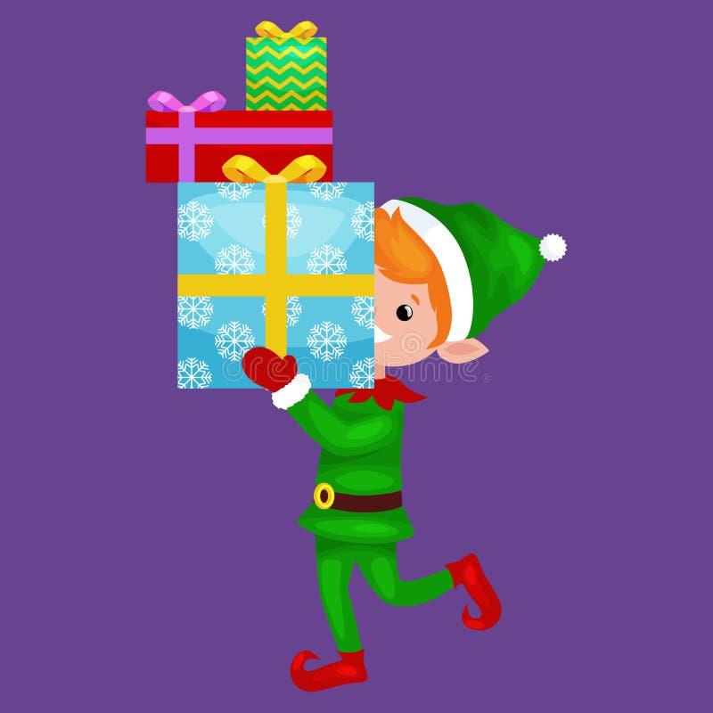Bożenarodzeniowa elf sterta prezenty w pudełku w zielonym kostiumu z, asystent Święty Mikołaj, chłopiec pomagiera mienia prezenty ilustracji