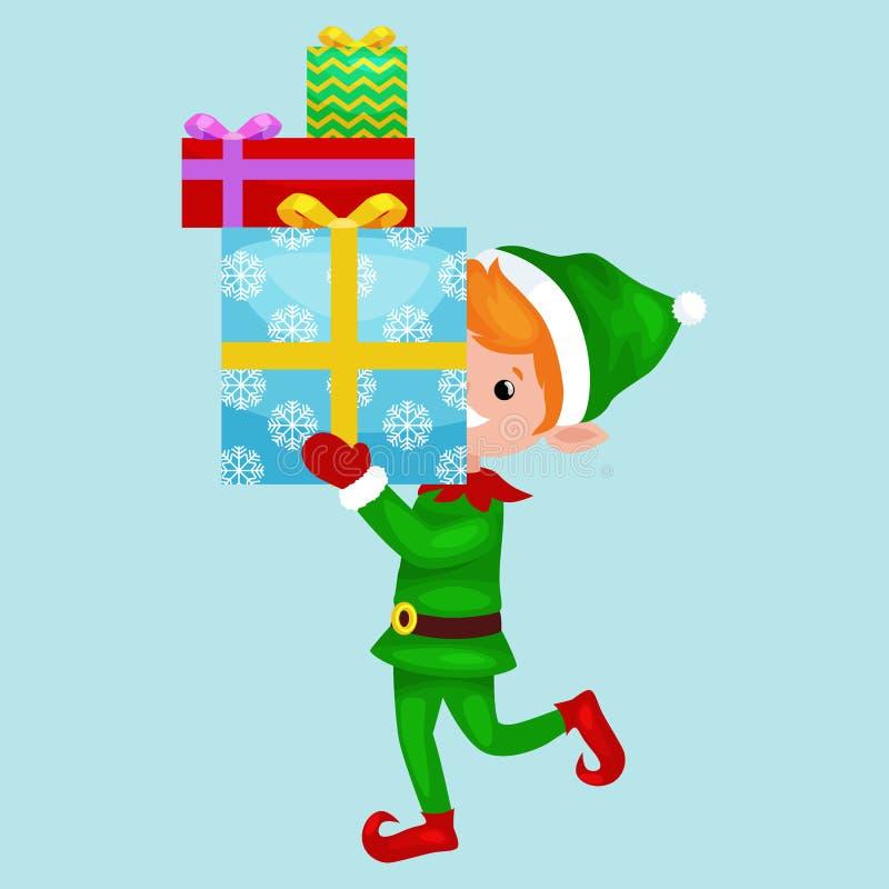 Bożenarodzeniowa elf sterta prezenty w pudełku w zielonym kostiumu z, asystent Święty Mikołaj, chłopiec pomagiera mienie dla szcz royalty ilustracja