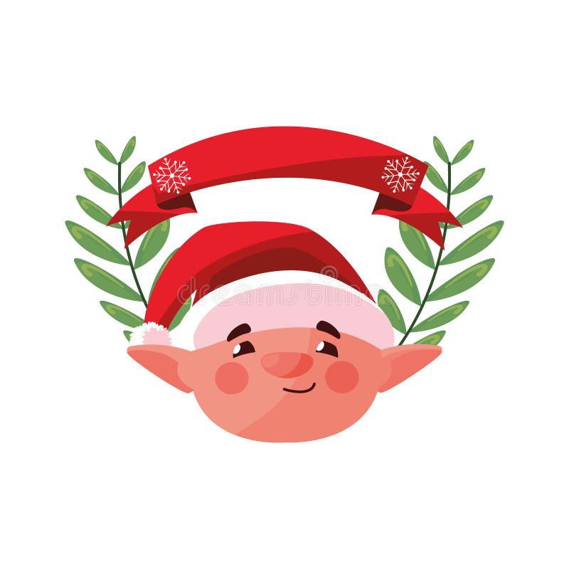 Bożenarodzeniowa elf twarz rozgałęzia się faborek ilustracji
