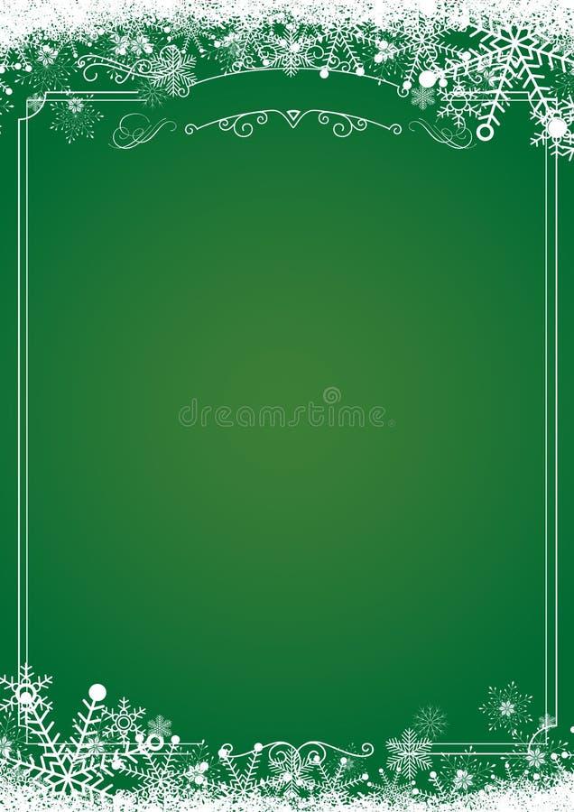 Bożenarodzeniowa gradient zieleń z retro granicą i zima płatkiem śniegu ilustracja wektor