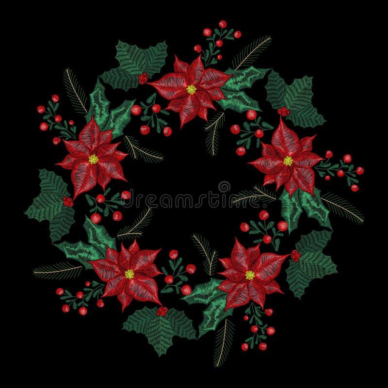 Bożenarodzeniowa hafciarska łata, wianek z jemiołą, kwiaty, drzewo, dźwięczenie dzwonów rośliny dla nowy rok dekoraci ilustracja wektor