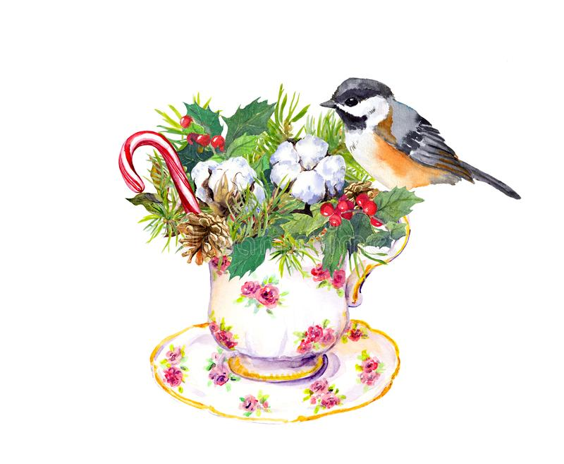Bożenarodzeniowa herbaciana filiżanka - ptak, choinka rozgałęzia się, jemioła, bawełna, nowego roku cukierku trzcina akwarela ilustracja wektor