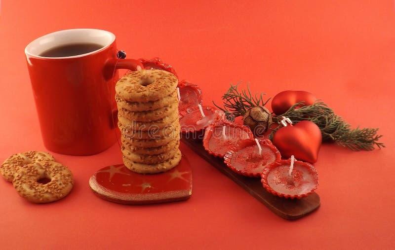 Bożenarodzeniowa herbata i ciastka zdjęcia royalty free
