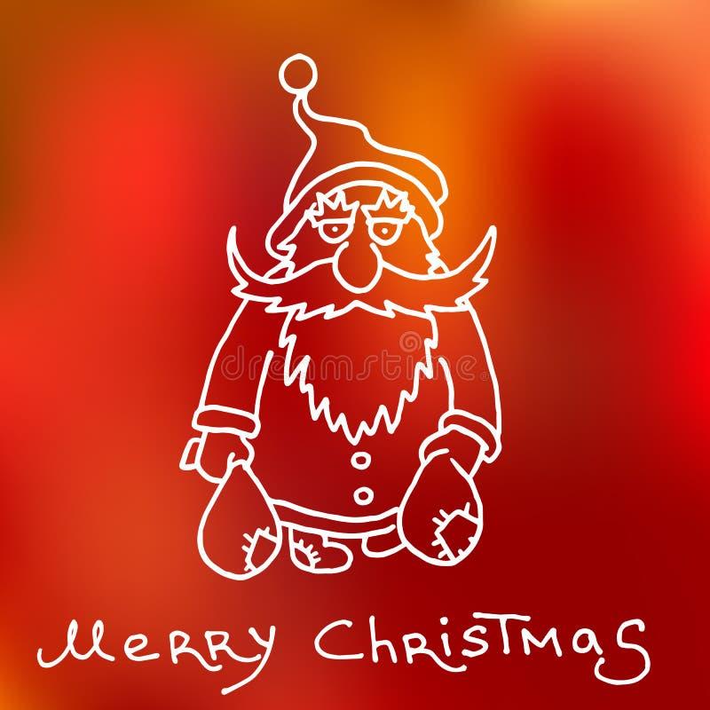 Bożenarodzeniowa i szczęśliwa nowa 2016 rok kreskówki konturu pocztówka z Święty Mikołaj royalty ilustracja