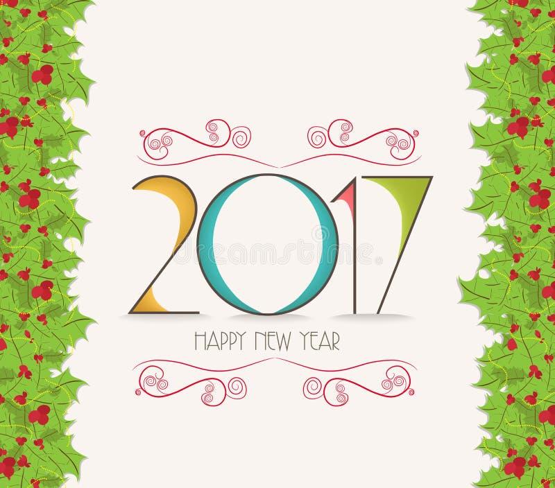 Bożenarodzeniowa i szczęśliwa nowego roku holly 2017 granica ilustracji