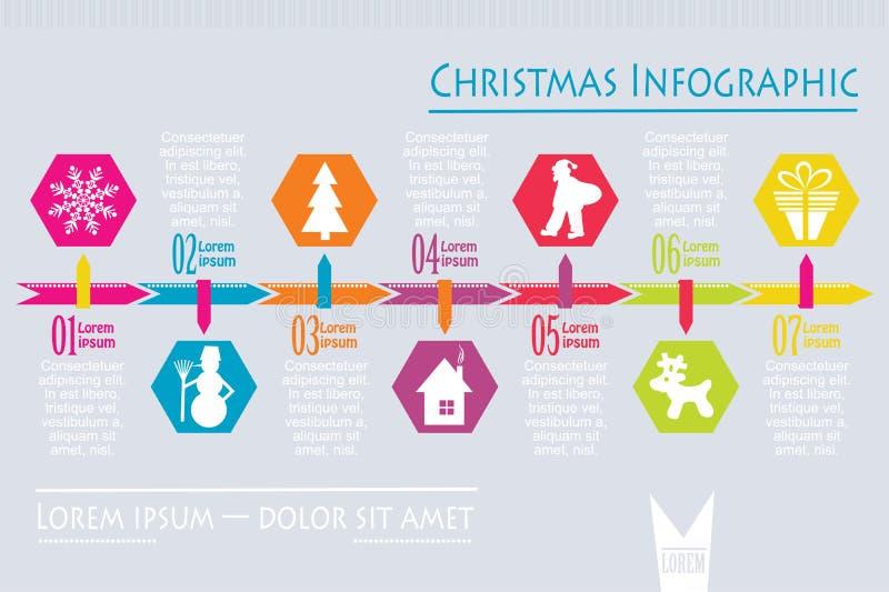 Bożenarodzeniowa ikona infographic, wektor ilustracji