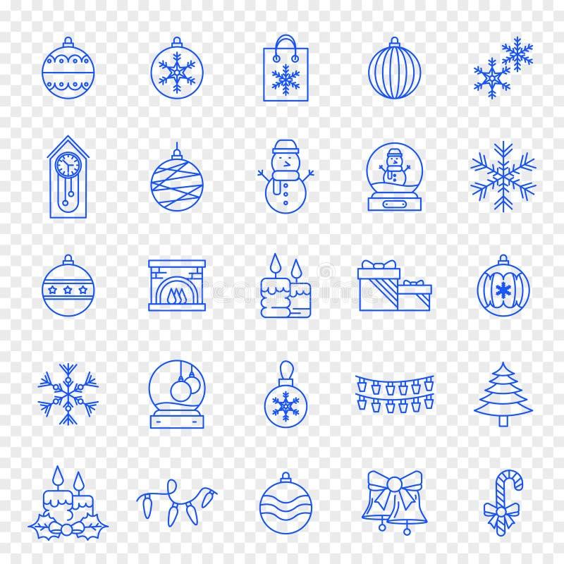 Bożenarodzeniowa ikona ustawia - 25 Błękitnych Xmas i nowego roku ikon ilustracja wektor
