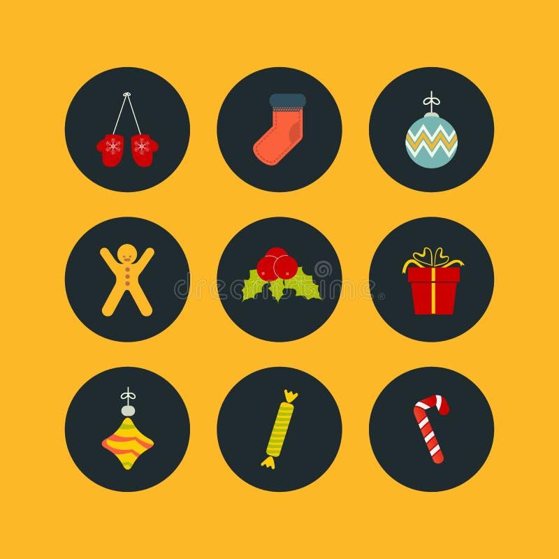 Bożenarodzeniowa ikona ustawiająca dziewięć mieszkań styl royalty ilustracja
