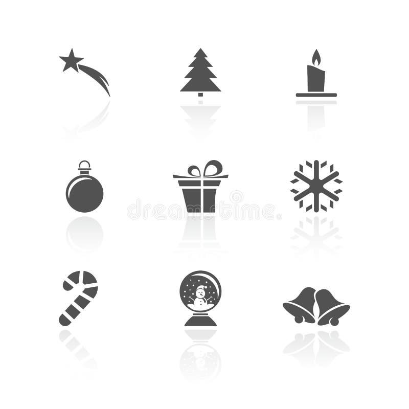 Bożenarodzeniowa ikona ustawiająca z odbiciem na białym tle royalty ilustracja