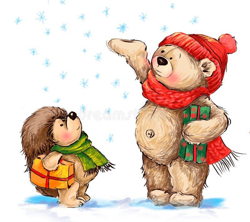 Bożenarodzeniowa ilustracja Śliczny niedźwiedź i jeż z prezentami zdjęcie stock