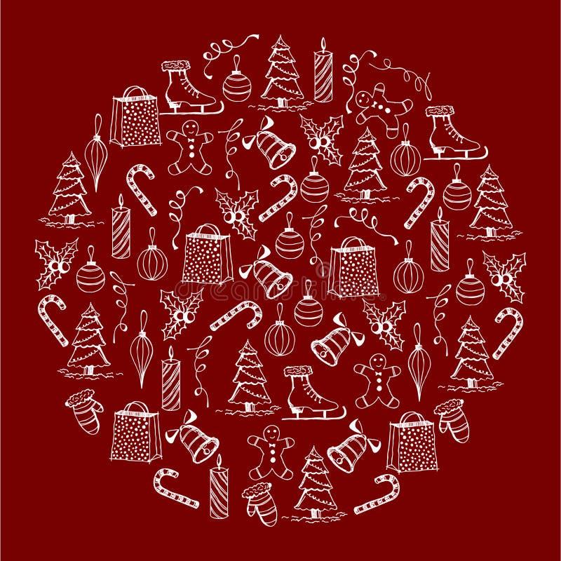 Bożenarodzeniowa ilustracja Boże Narodzenie przedmioty Bożenarodzeniowy lizak, dzwony, łyżwy, ciastka, prezenty, zabawki, mitynki ilustracja wektor