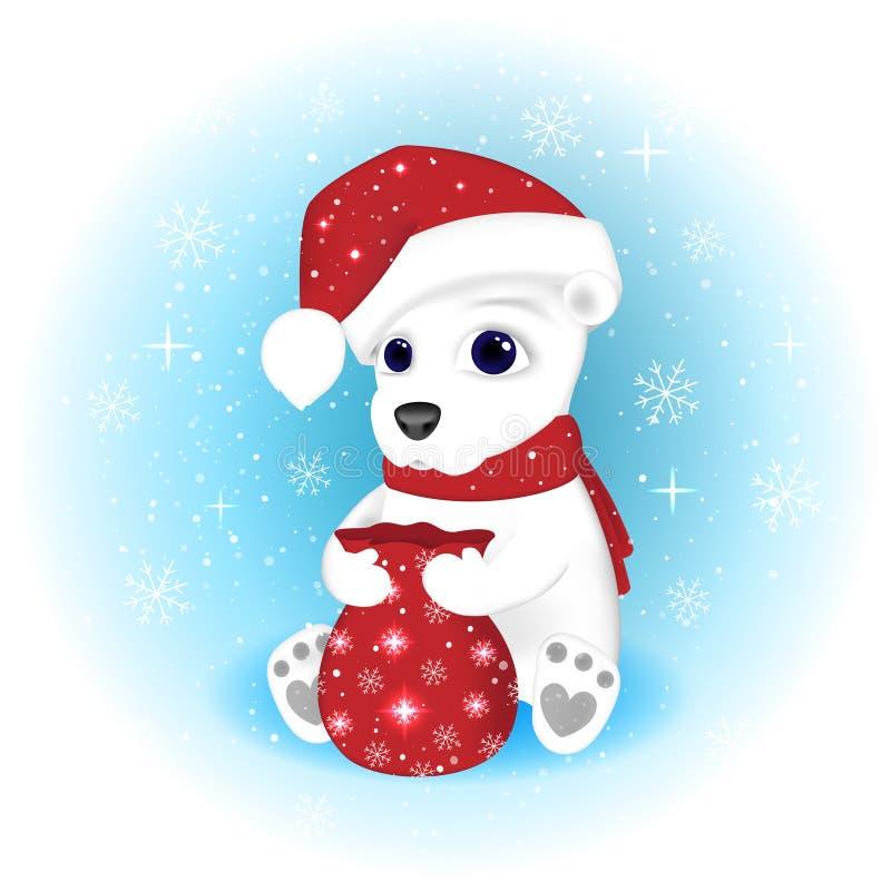 Bożenarodzeniowa ilustracja Niedźwiedź Polarny w Święty Mikołaj nakrętce i szaliku otwiera torbę z teraźniejszość ilustracja wektor